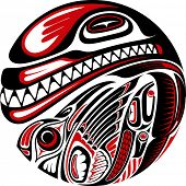 stock photo of mew  - Haida style tattoo design created with animal images - JPG
