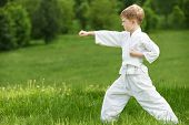 picture of jiujitsu  - One little boy in white kimono during training karate kata exercises in summer outdoors - JPG