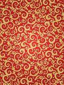 image of scrollwork  - Red and gold vertical background with scrollwork floral pattern and fabric texture suitable for Christmas and New Year designs - JPG