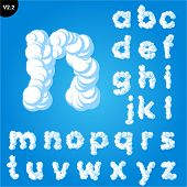 Vector illustration of cloud alphabet on a blue sky background. Bold font Smallcase