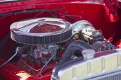 Red White 1955 Chevy Bel Air Engine