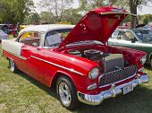 Red White 1955 Chevy Bel Air