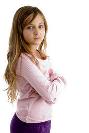 pic of ten years old  - girl with folded arms looking at camera on white background - JPG