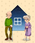 Illustration of a grandfather and a grandmother