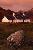 Black Rock Cottage, Rannoch Moor, Scottish Highlands At Sunrise; Vertical