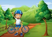 Illustration of a boy standing in the pathway with his bike