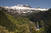 Glacier Melt Creates Waterfall North Cascade Mountains Washington State