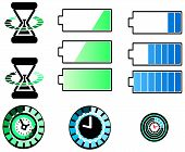 Battery And Timing Icons Set