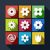 Set Of Flower Icons With Long Shadow