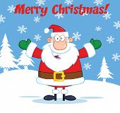 Merry Christmas Greeting With Santa Claus With Open Arms