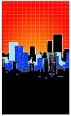 Cityscape With Orange Background With Grid