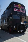 Red Bull Bus on street in the Long Beach