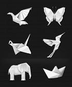 picture of colibri  - Origami vector set - JPG