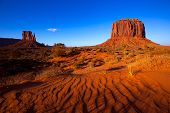 stock photo of dune  - Monument Valley West Mitten and Merrick Butte desert sand dunes Utah - JPG