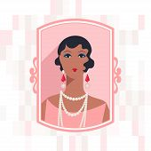 Retro background with beautiful girl of 1920s style.