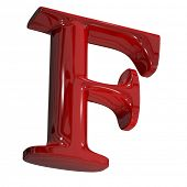 3d shiny red letter collection - F