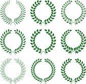 vector collection: laurel wreaths