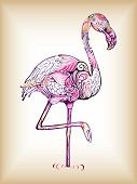 picture of flamingo  - Illustration of flamingo on abstract design background - JPG