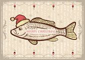Christmas Fish In Santa Red Hat.vintage Drawing Card On Old Texture