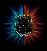 picture of understanding  - Vector brain and explosion on black background - JPG