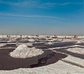 stock photo of salt mine  - Salt mine at Sambhar Lake - JPG