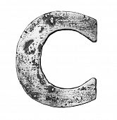 Metal alloy alphabet letter C