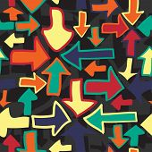 Seamless pattern of colorful arrows