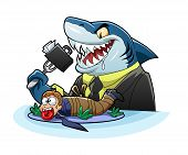 foto of loan-shark  - Shark businessman eats a bag - JPG