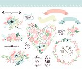 Wedding graphic set, wreath, flowers, arrows, hearts, laurel, ribbons and labels.