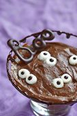Chocolate pudding with marshmallow for Halloween
