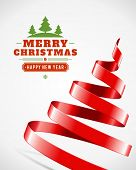 Christmas tree from ribbon vector background. Christmas card or invitation.