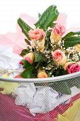 image of dust-bin  - Bouquet of pink roses from a man in dust bin