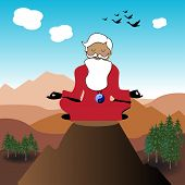 image of guru  - Abstract colorful illustration with a wise old guru meditating in silence from the top of a mountain - JPG