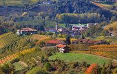 Small village among autumnal vineyards on the hills of Langhe in Piedmont, Northern Italy (view from