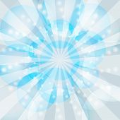 Blue winter rays burst vector background.
