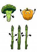 Broccoli, asparagus and pepper cartoon vegetables