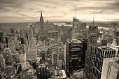 picture of penthouse  - New York City skyline black and white with urban skyscrapers at sunset - JPG