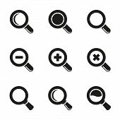 Vector Magnifier Glass and Zoom Icons set