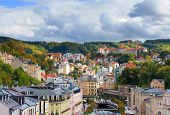 picture of bohemia  - Panorama view of Karlovy Vary in Czech Republic - JPG