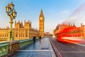 picture of westminster bridge  - Big Ben and red double - JPG
