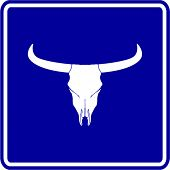 stock photo of cow skeleton  - cow skull sign - JPG