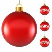 Blank red Christmas ball isolated on white background with discount samples vector illustration.