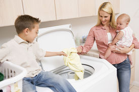 picture of washing-machine  - Laundry Mother Helping Son Washing Machine Baby Chores 30s 7 Year Old Assistance Assisting Boy Casual Clothing Caucasian Cheerful Child Cleaning Color Colour Domestic Elementary Age Family Holding Home Horizontal Housework Image Indoors Laundry Basket Mid - JPG