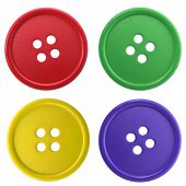 4 colored buttons isolated on white background