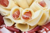 Beautiful sliced food arrangement close up studio photo