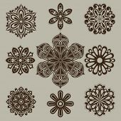Vintage flower buds vector design elements isolated on white background. Set 3.