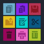 Document web icons set. Color buttons.