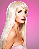 image of barbie  - Portrait of a beautiful adult woman with long white straight hairs - JPG