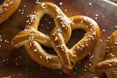 stock photo of pretzels  - Homemade Soft Pretzels with Salt Ready to Eat
