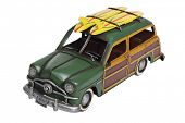 Classic woody surf automobile model, cut out on white background